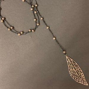 Leather & Silver Leaf Necklace